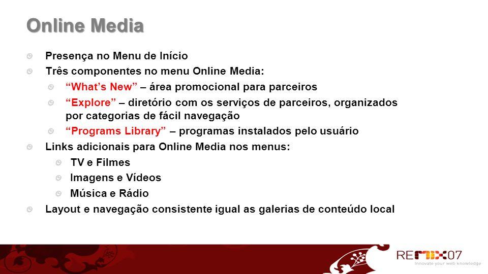 Online Media Presença no Menu de Início