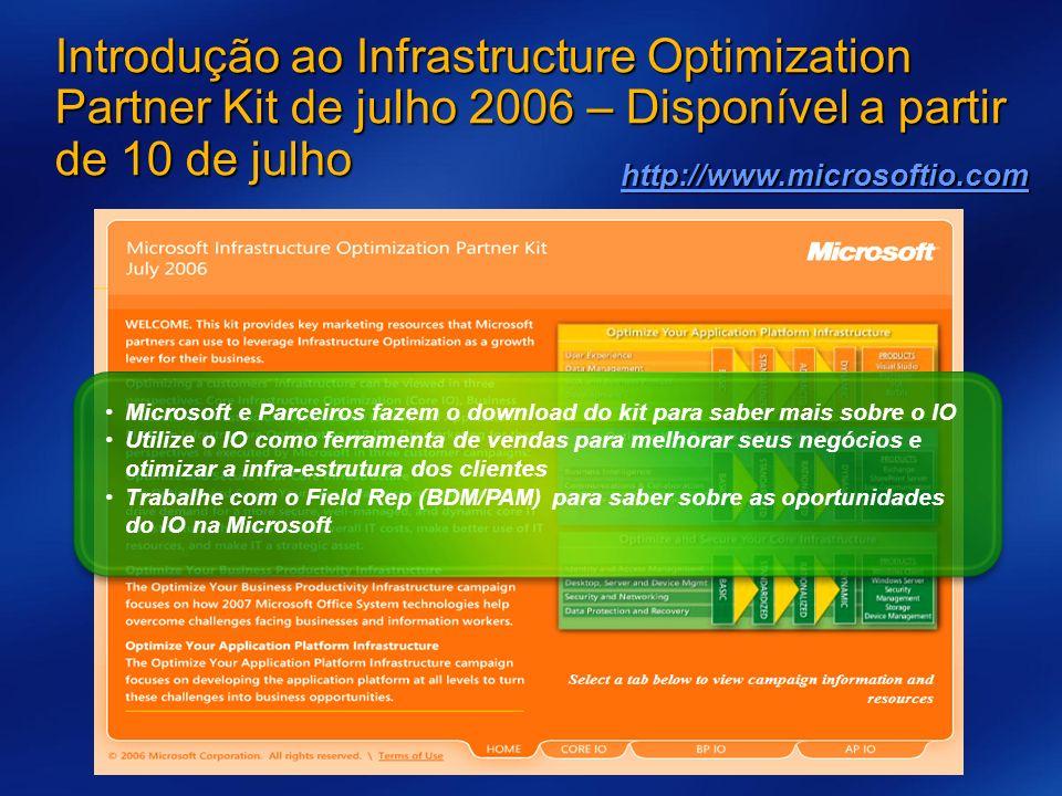 3/26/2017 7:56 AM Introdução ao Infrastructure Optimization Partner Kit de julho 2006 – Disponível a partir de 10 de julho.
