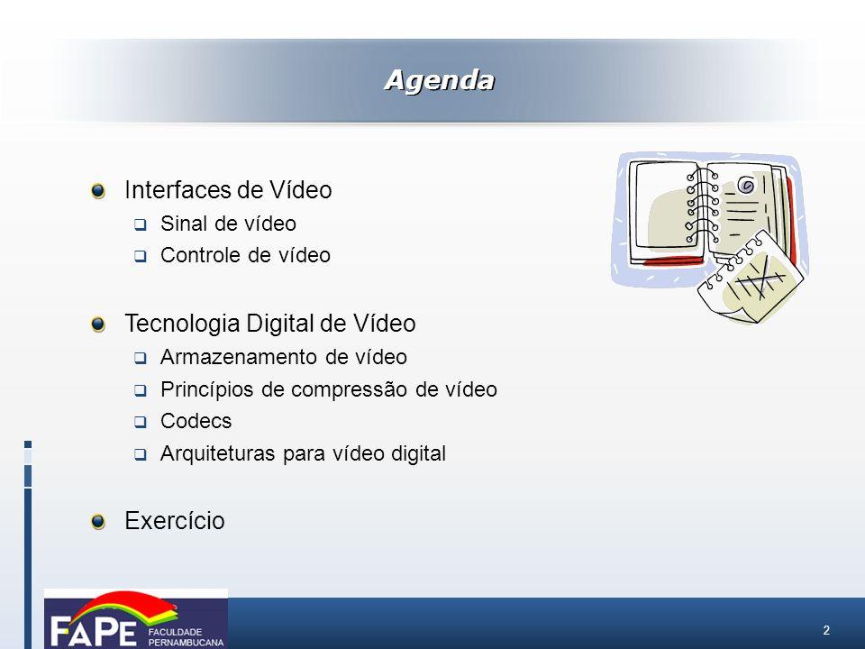 Agenda Interfaces de Vídeo Tecnologia Digital de Vídeo Exercício