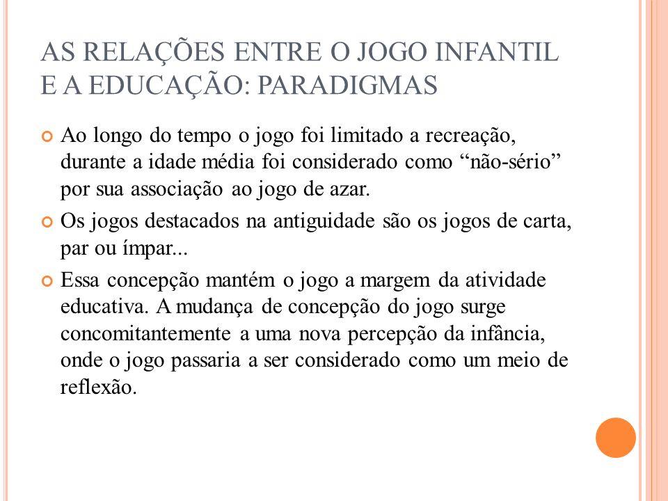 AS RELAÇÕES ENTRE O JOGO INFANTIL E A EDUCAÇÃO: PARADIGMAS