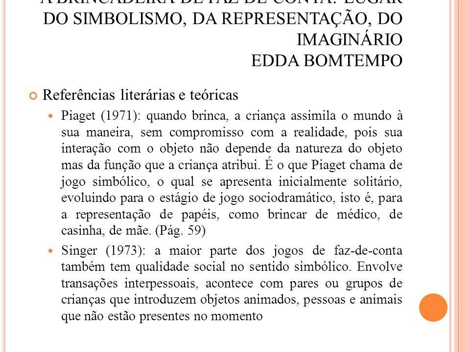 A BRINCADEIRA DE FAZ-DE-CONTA: LUGAR DO SIMBOLISMO, DA REPRESENTAÇÃO, DO IMAGINÁRIO EDDA BOMTEMPO