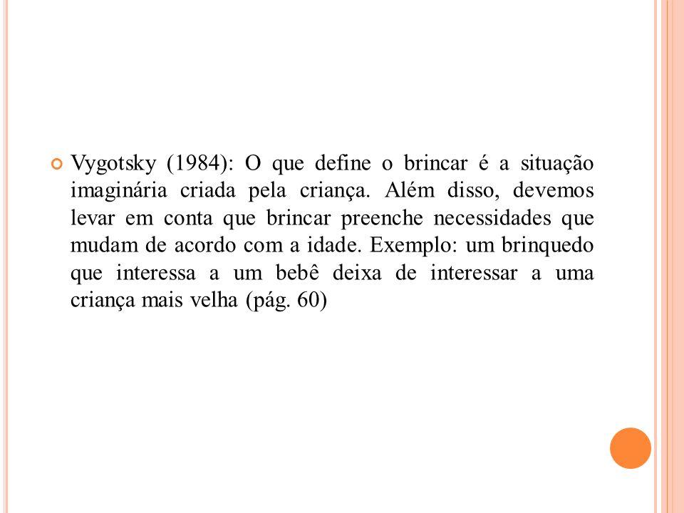 Vygotsky (1984): O que define o brincar é a situação imaginária criada pela criança.