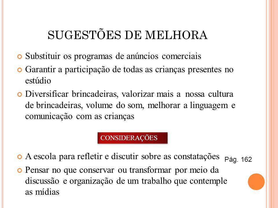 SUGESTÕES DE MELHORA Substituir os programas de anúncios comerciais