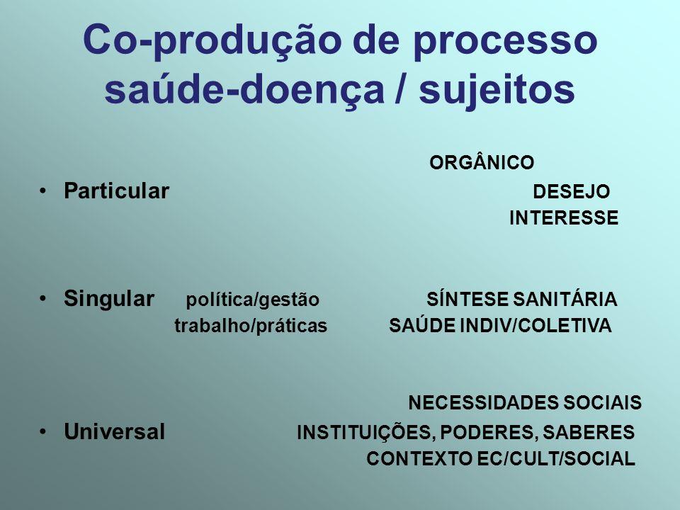 Co-produção de processo saúde-doença / sujeitos