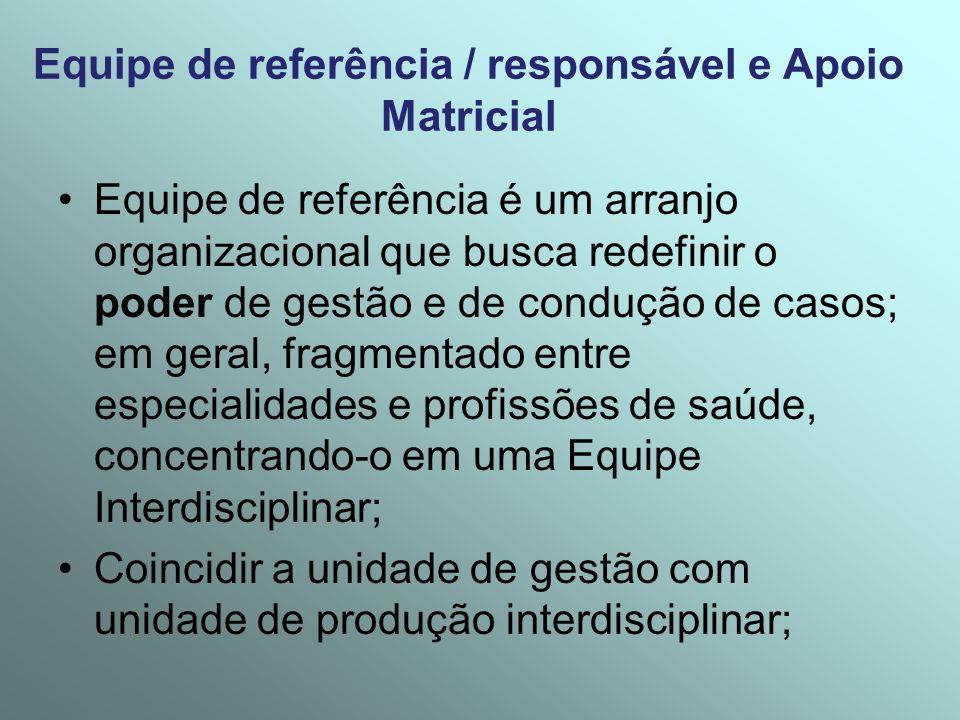 Equipe de referência / responsável e Apoio Matricial