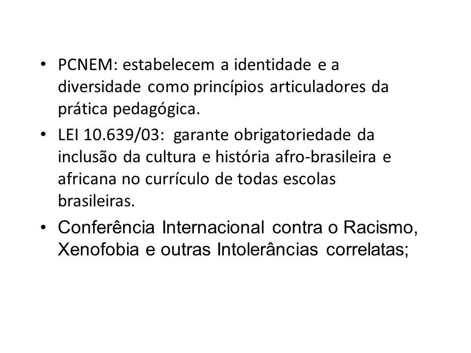 PCNEM: estabelecem a identidade e a diversidade como princípios articuladores da prática pedagógica.
