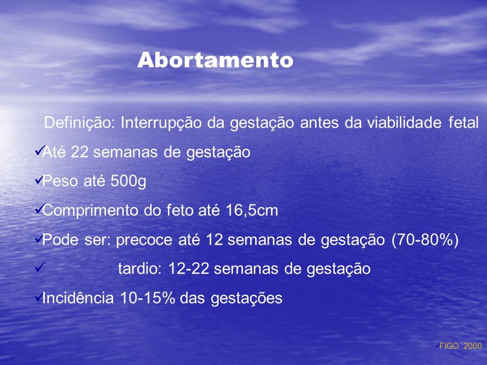 Abortamento Até 22 semanas de gestação Peso até 500g