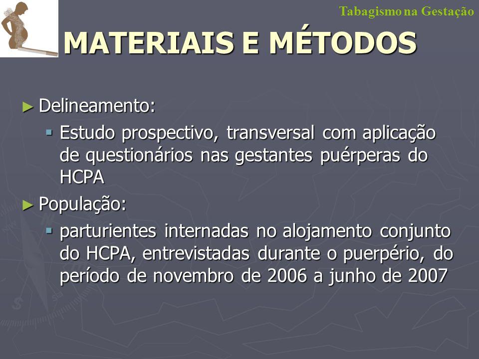 MATERIAIS E MÉTODOS Delineamento: