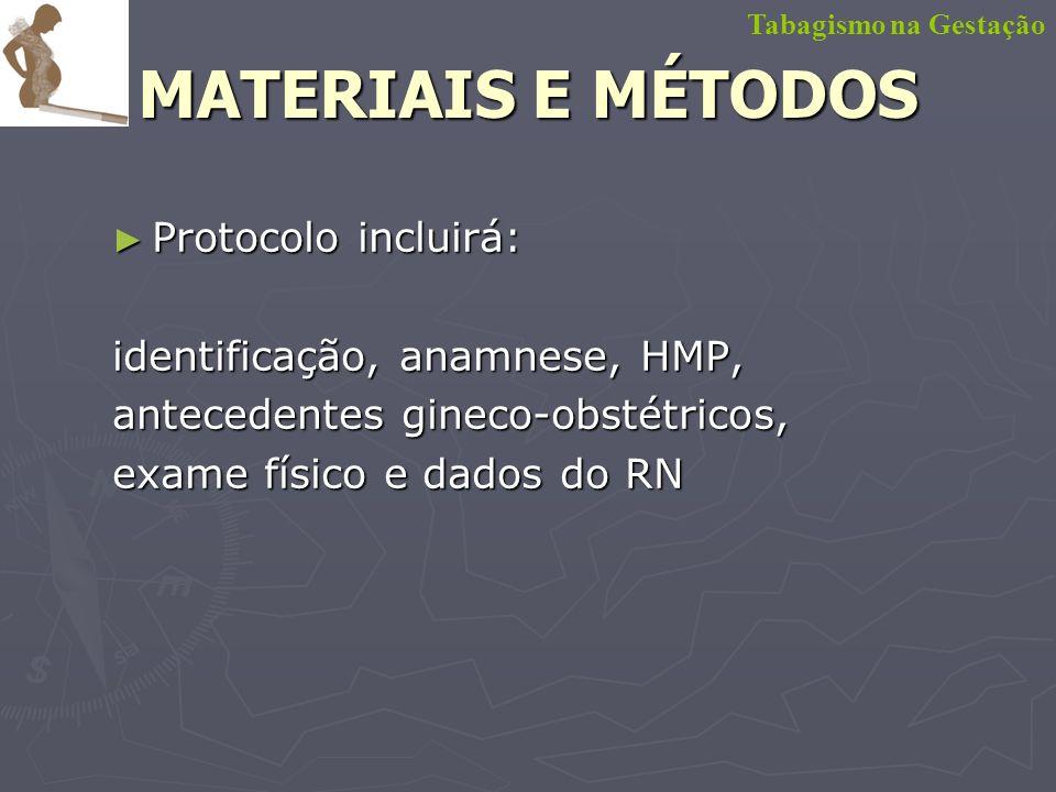 MATERIAIS E MÉTODOS Protocolo incluirá: identificação, anamnese, HMP,