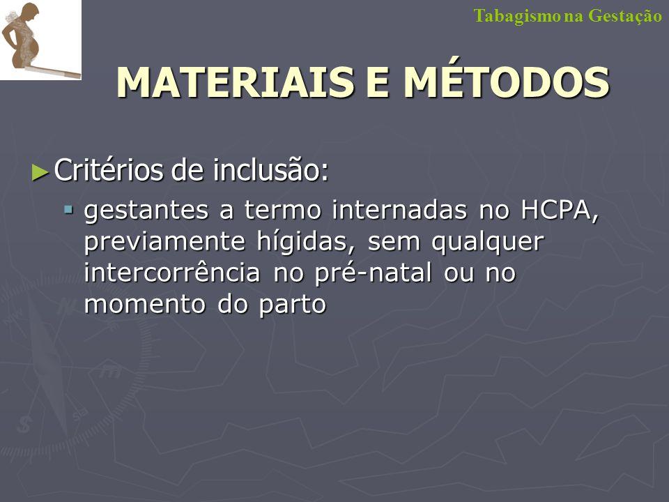 MATERIAIS E MÉTODOS Critérios de inclusão: