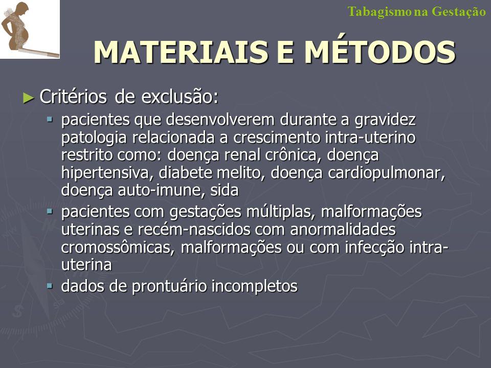 MATERIAIS E MÉTODOS Critérios de exclusão: