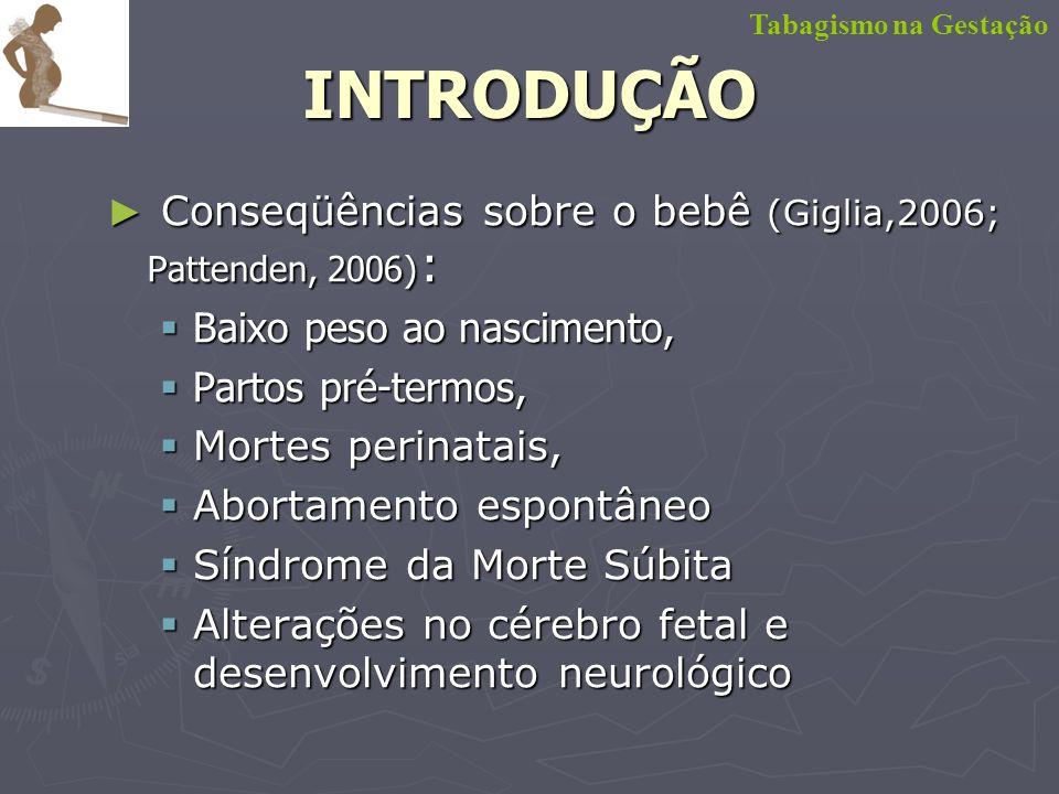 INTRODUÇÃO Conseqüências sobre o bebê (Giglia,2006; Pattenden, 2006):