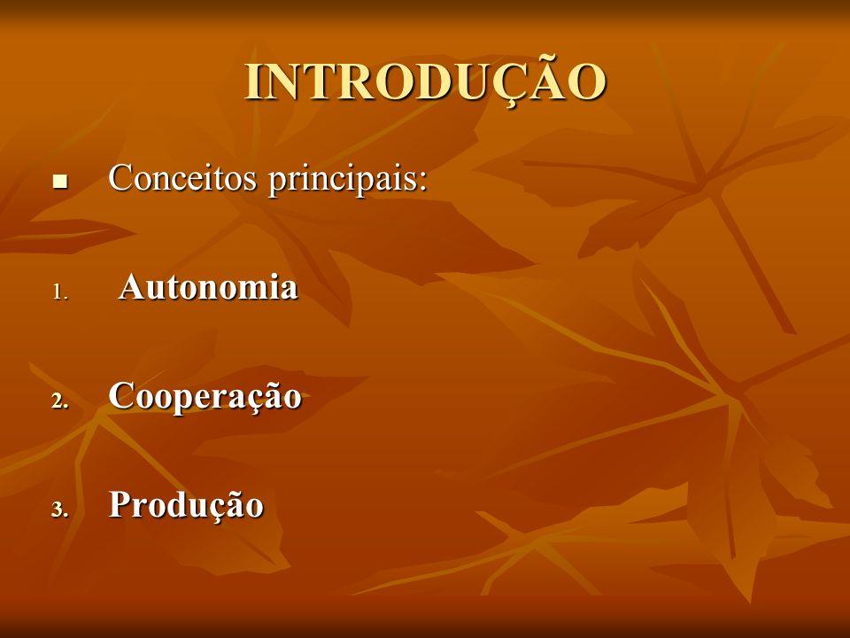 INTRODUÇÃO Conceitos principais: Autonomia Cooperação Produção