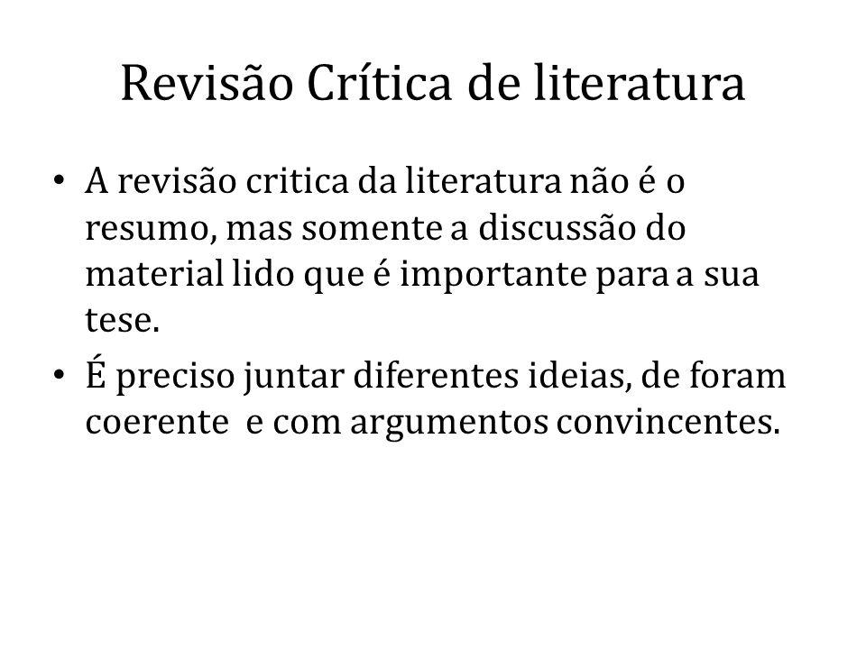 Revisão Crítica de literatura
