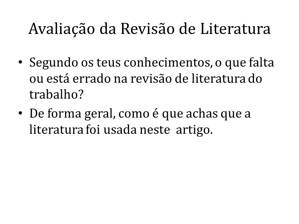 Avaliação da Revisão de Literatura