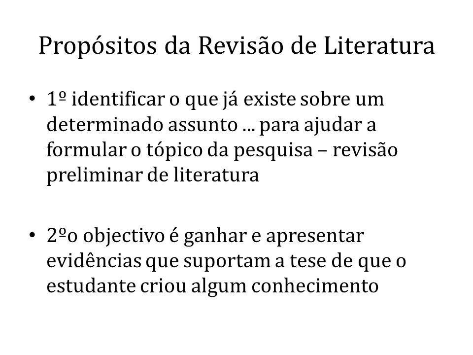 Propósitos da Revisão de Literatura