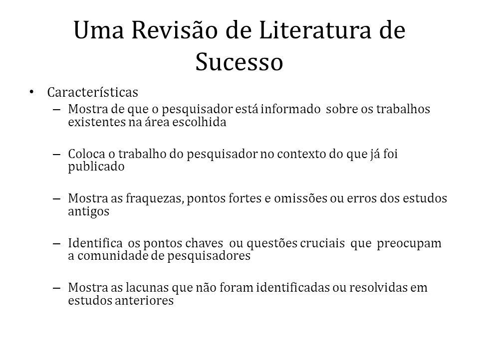 Uma Revisão de Literatura de Sucesso