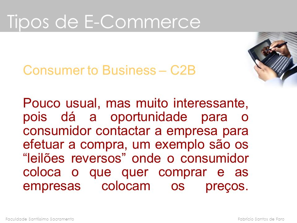 Tipos de E-Commerce Consumer to Business – C2B