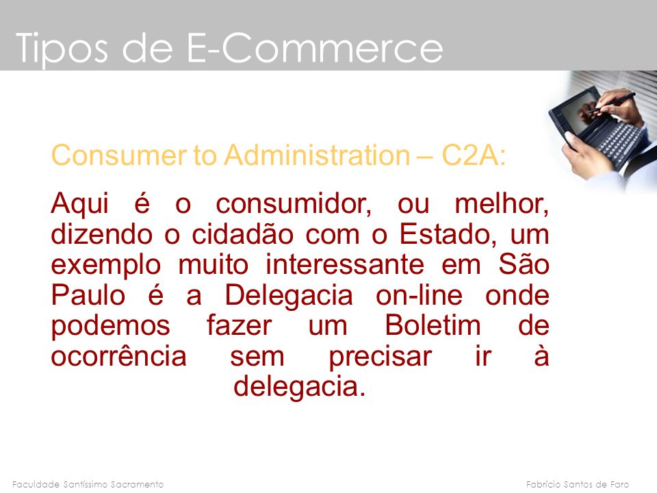 Tipos de E-Commerce Consumer to Administration – C2A: