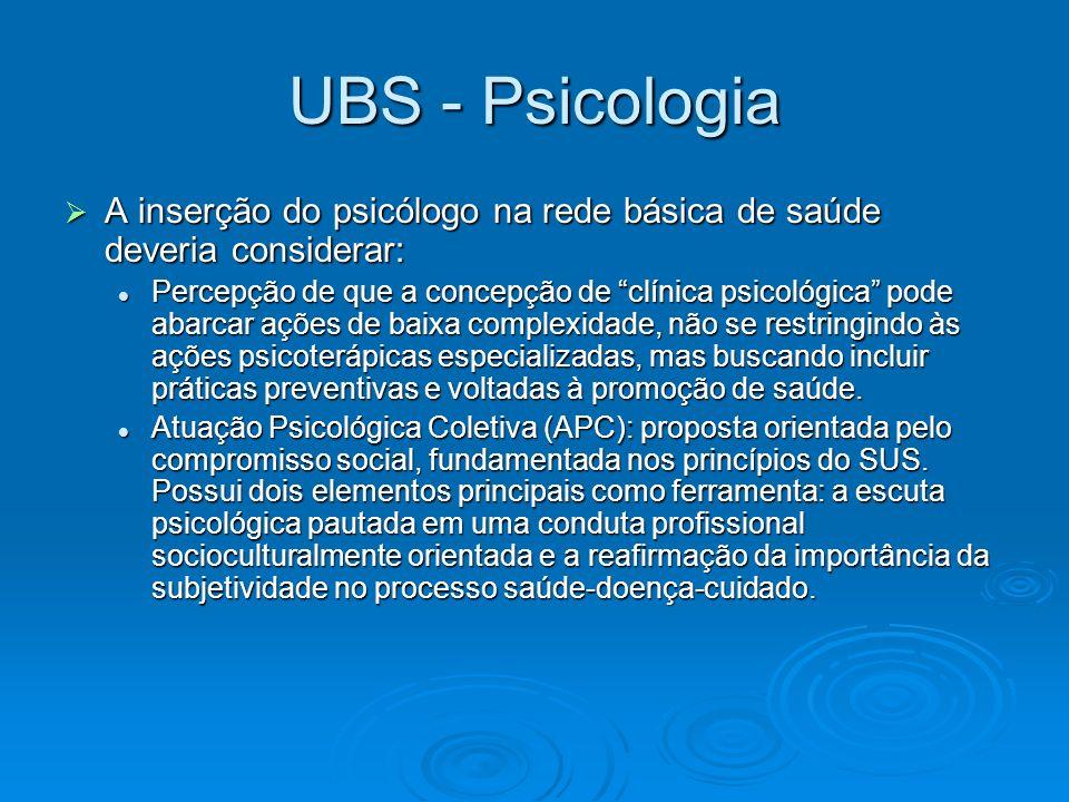 UBS - Psicologia A inserção do psicólogo na rede básica de saúde deveria considerar: