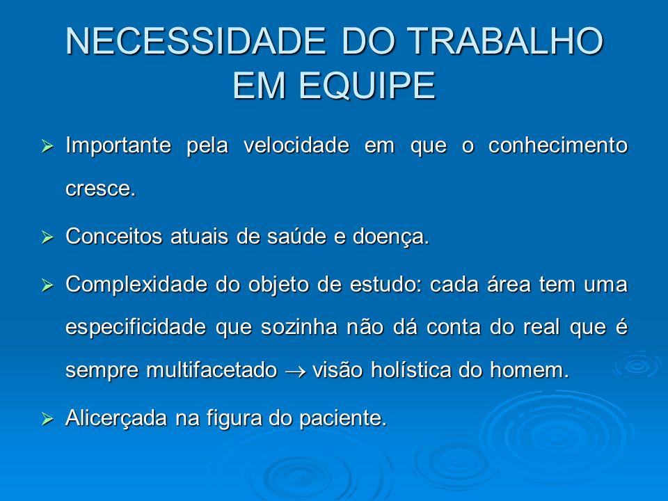 NECESSIDADE DO TRABALHO EM EQUIPE
