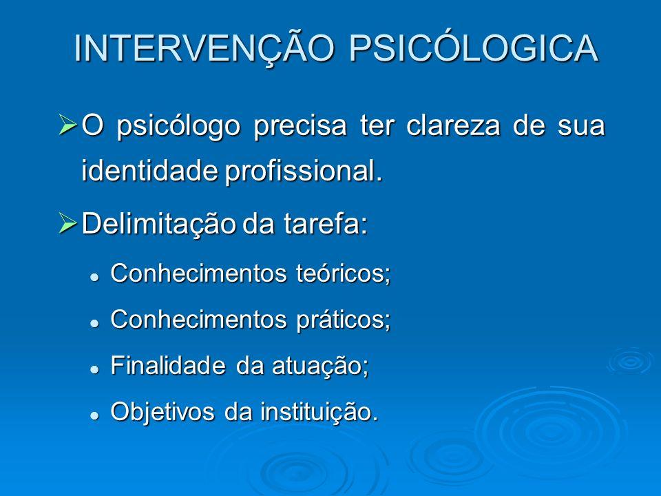 INTERVENÇÃO PSICÓLOGICA