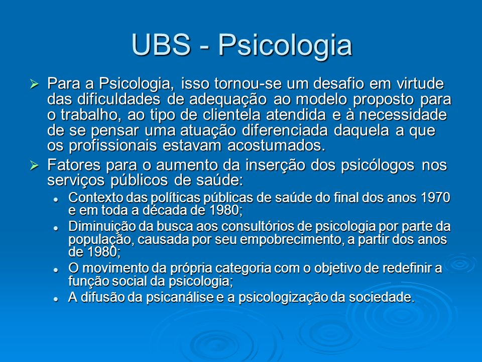 UBS - Psicologia