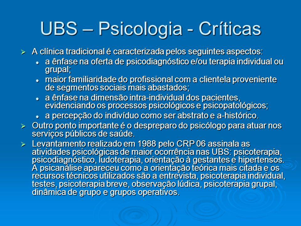 UBS – Psicologia - Críticas