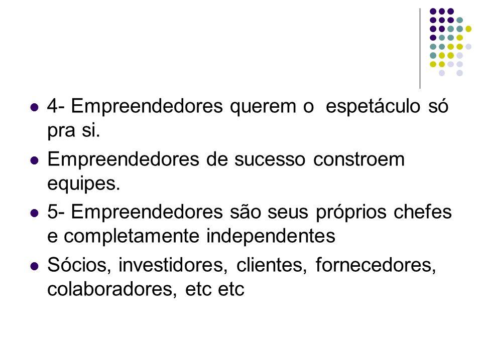 4- Empreendedores querem o espetáculo só pra si.