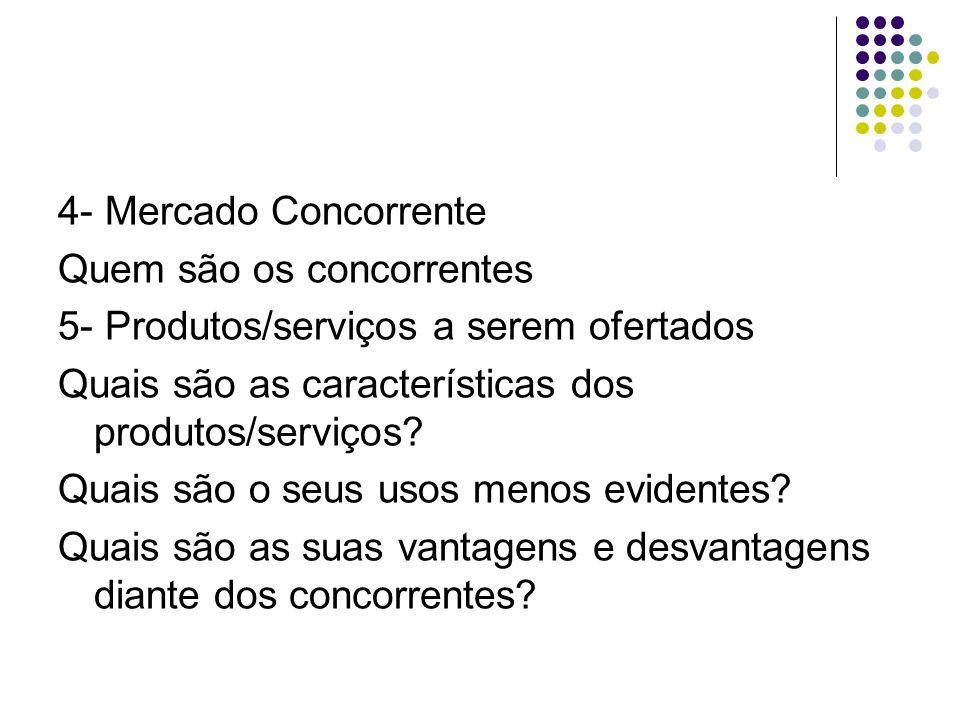 4- Mercado Concorrente Quem são os concorrentes. 5- Produtos/serviços a serem ofertados. Quais são as características dos produtos/serviços