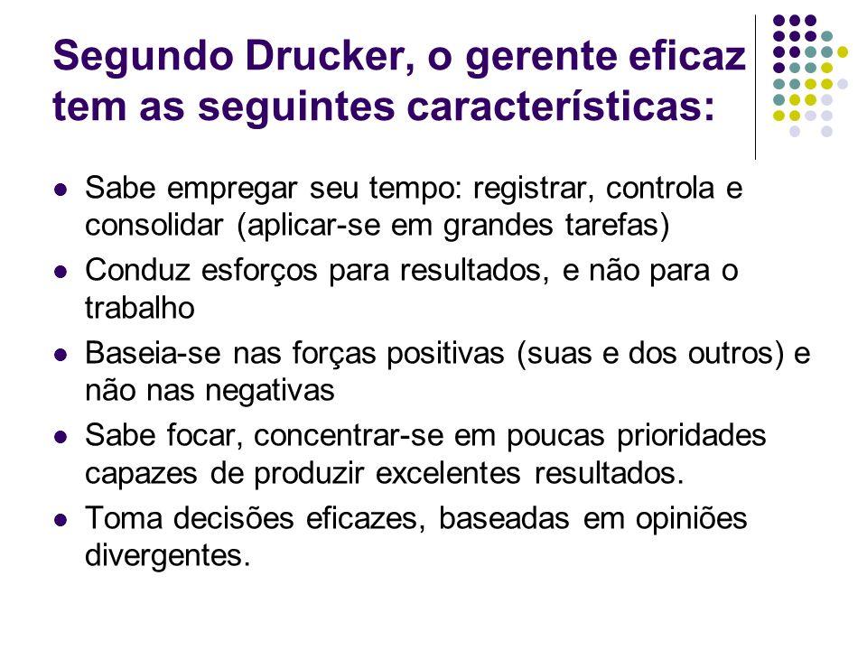 Segundo Drucker, o gerente eficaz tem as seguintes características: