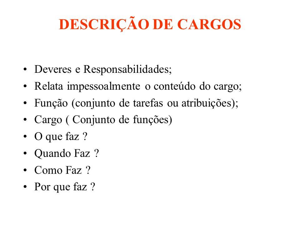 DESCRIÇÃO DE CARGOS Deveres e Responsabilidades;
