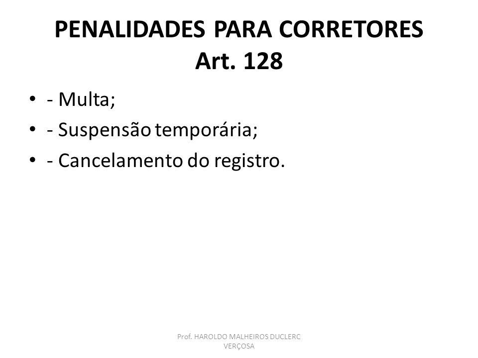 PENALIDADES PARA CORRETORES Art. 128
