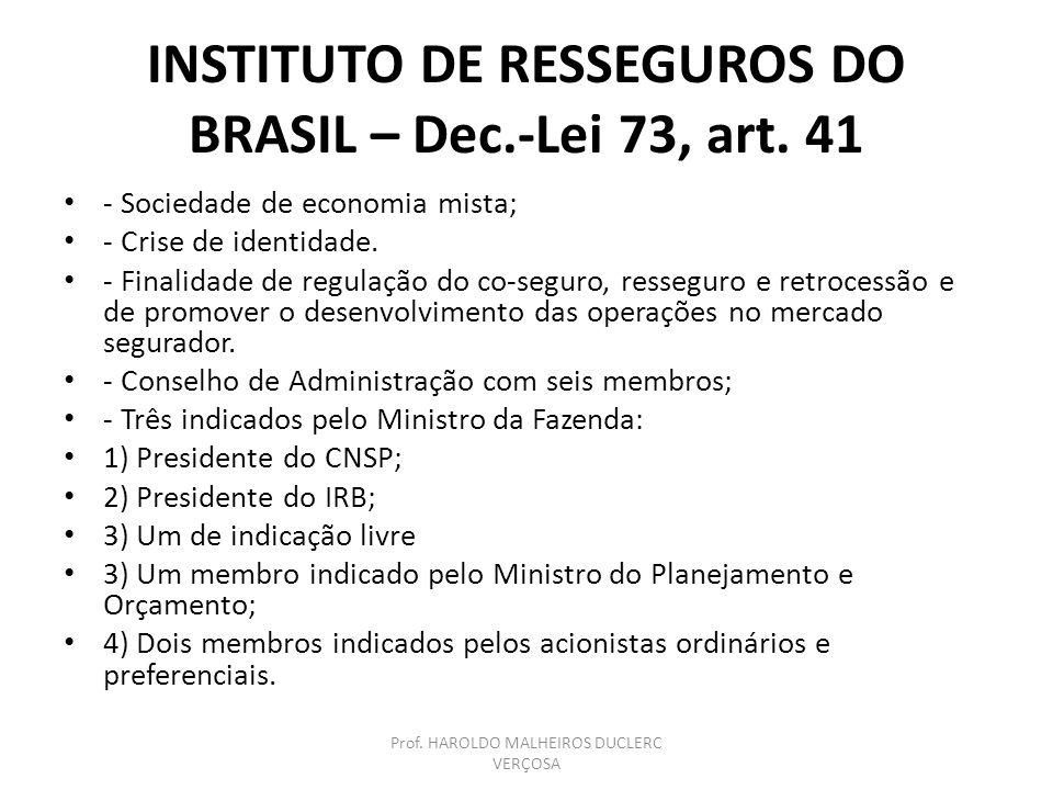 INSTITUTO DE RESSEGUROS DO BRASIL – Dec.-Lei 73, art. 41