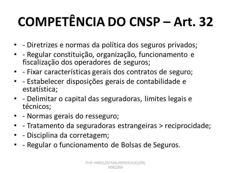 COMPETÊNCIA DO CNSP – Art. 32
