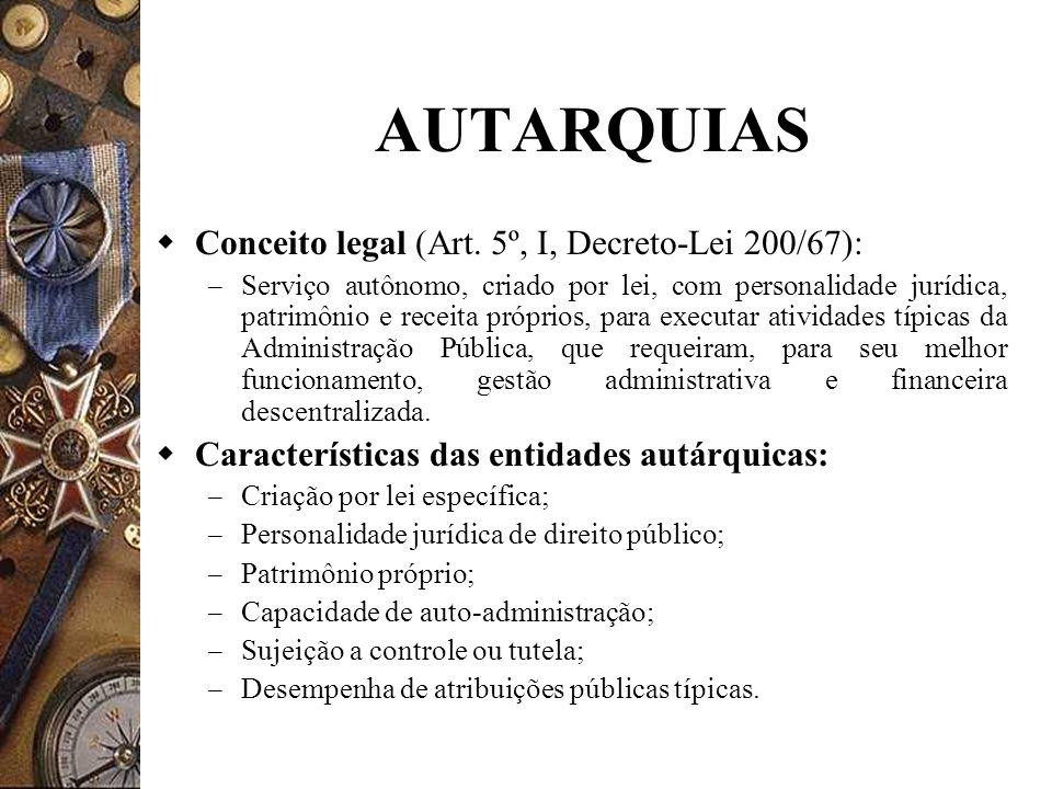 AUTARQUIAS Conceito legal (Art. 5º, I, Decreto-Lei 200/67):