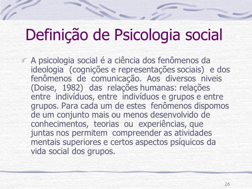 Definição de Psicologia social