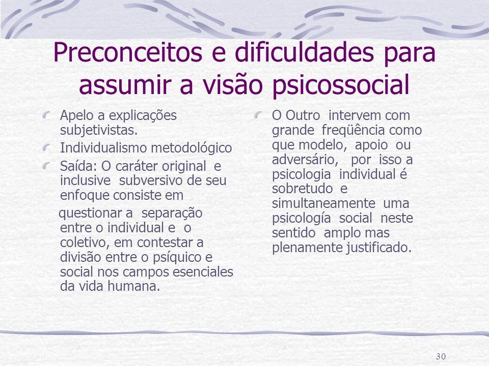 Preconceitos e dificuldades para assumir a visão psicossocial