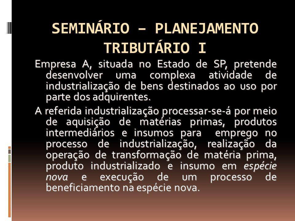 SEMINÁRIO – PLANEJAMENTO TRIBUTÁRIO I