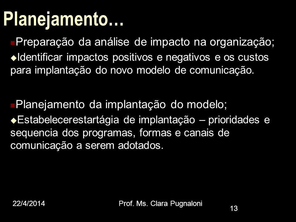 Planejamento… Preparação da análise de impacto na organização;