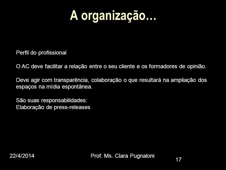 A organização… Perfil do profissional