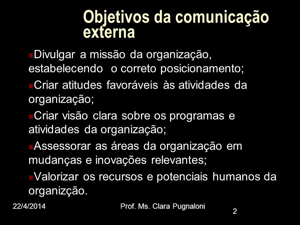 Objetivos da comunicação externa