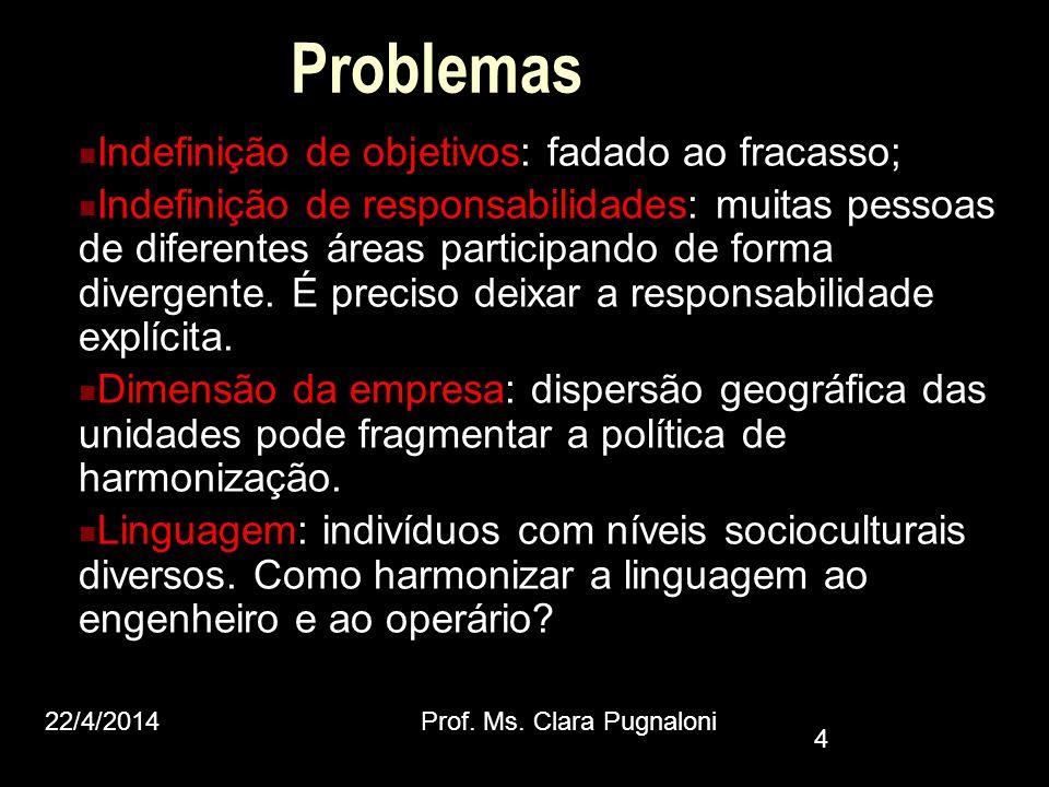 Problemas Indefinição de objetivos: fadado ao fracasso;