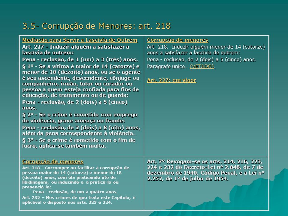 3.5- Corrupção de Menores: art. 218