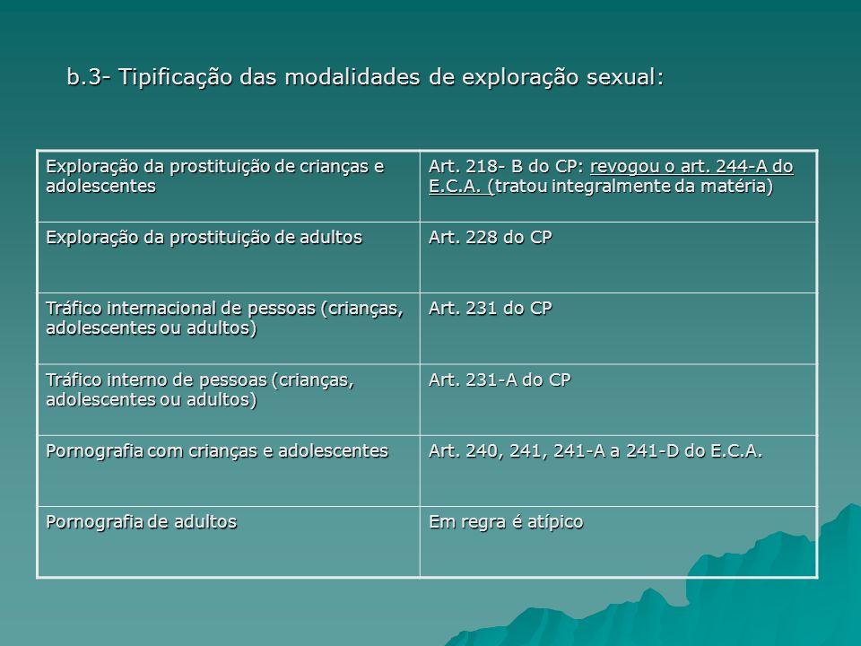 b.3- Tipificação das modalidades de exploração sexual: