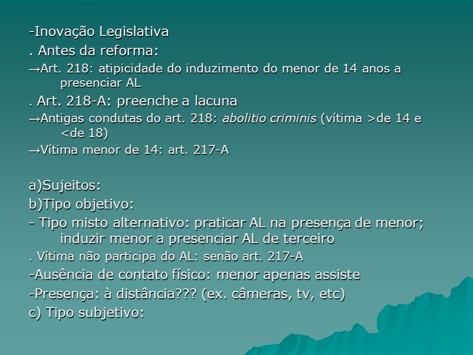 -Inovação Legislativa . Antes da reforma:
