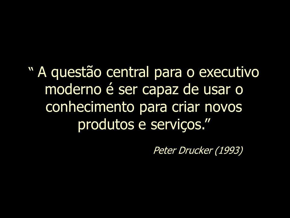 A questão central para o executivo moderno é ser capaz de usar o conhecimento para criar novos produtos e serviços.
