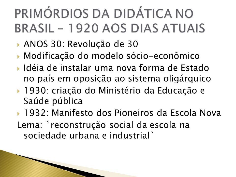 PRIMÓRDIOS DA DIDÁTICA NO BRASIL – 1920 AOS DIAS ATUAIS