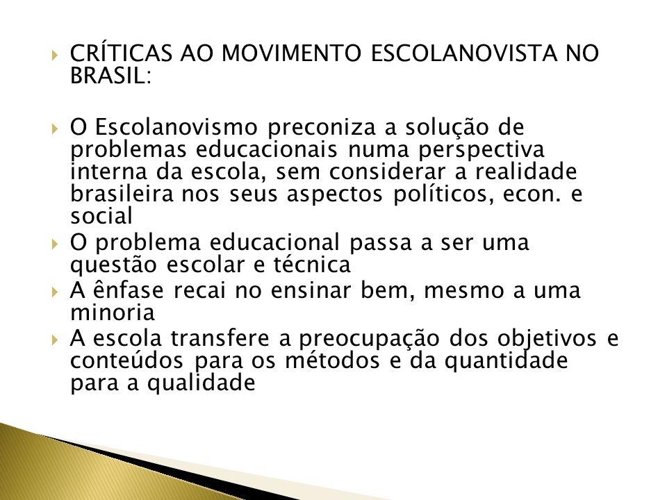 CRÍTICAS AO MOVIMENTO ESCOLANOVISTA NO BRASIL: