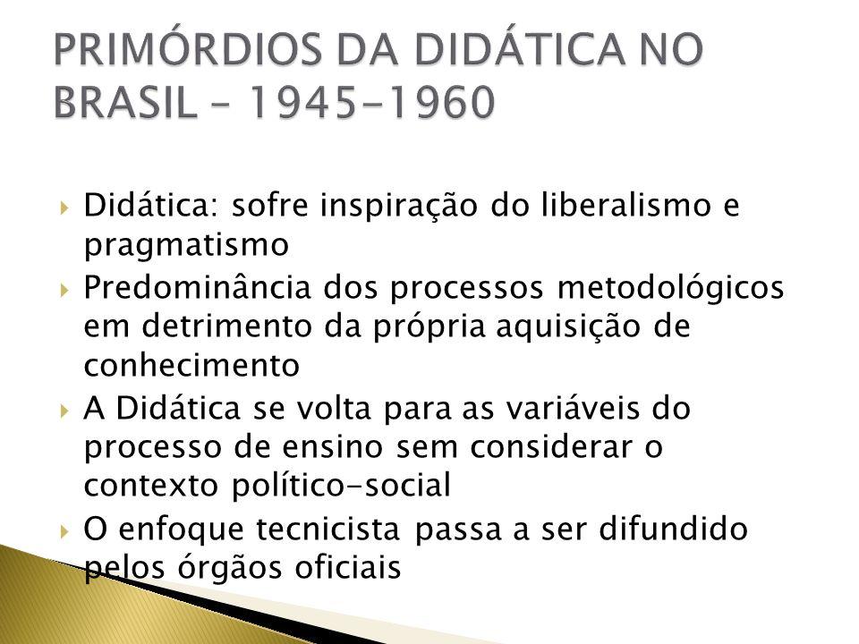PRIMÓRDIOS DA DIDÁTICA NO BRASIL – 1945-1960